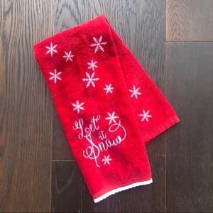 """Let It Snow"" Red Christmas Towel"